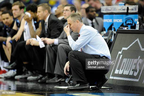 Head coach Bobby Hurley of the Buffalo Bulls reacts to missed shot during the second round of the 2015 NCAA Men's Basketball Tournament against the...