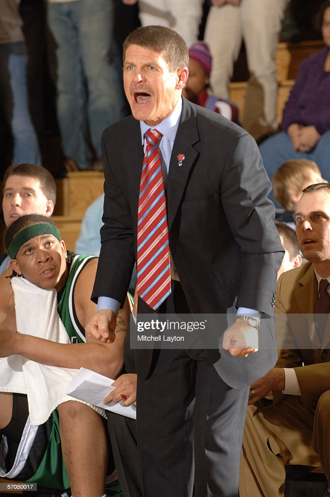 Head coach Bobby Lutz of Charlotte reacts against George Washington on March 4 2006 at Smith Center in Washington DC George Washington won in...