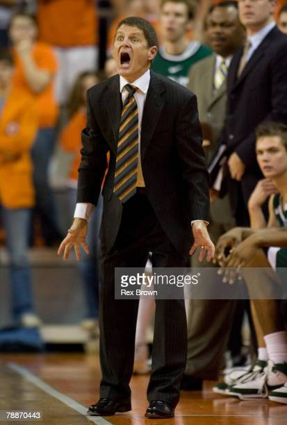 Head coach Bobby Lutz of the Charlotte 49ers reacts during the second half against the Clemson Tigers on January 9 2008 at Littlejohn Coliseum in...