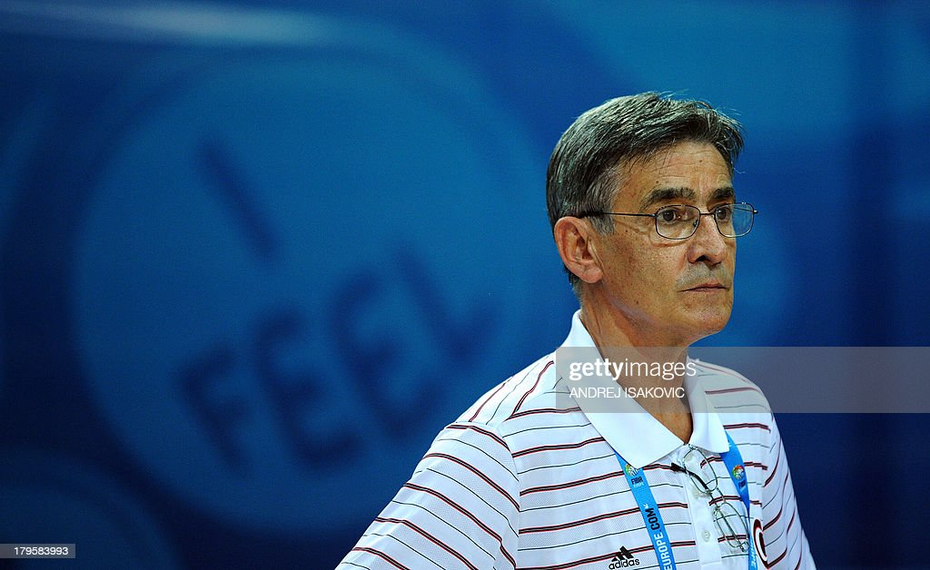 Head coach Bogdan Tanjevic of Turkey watches during their FIBA Eurobasket Group D qualification match Italy vs Turkey in Koper, on September 5, 2013.