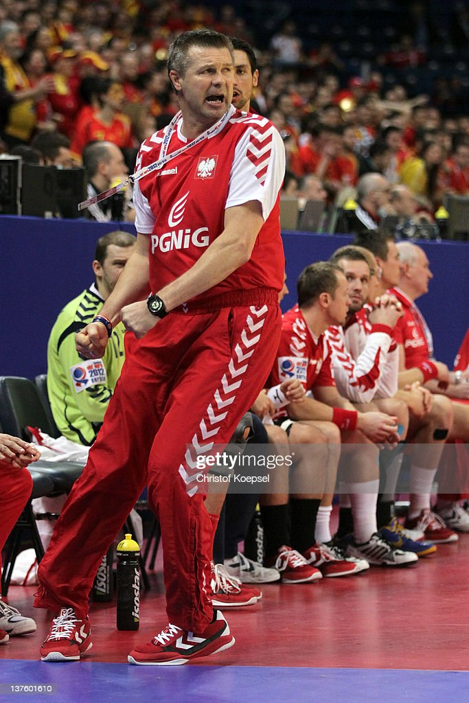 Head coach <a gi-track='captionPersonalityLinkClicked' href=/galleries/search?phrase=Bogdan+Wenta&family=editorial&specificpeople=453527 ng-click='$event.stopPropagation()'>Bogdan Wenta</a> of Poland shows emotions during the Men's European Handball Championship second round group one match between Poland and Macedonia at Beogradska Arena on January 23, 2012 in Belgrade, Serbia.