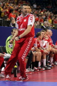 Head coach Bogdan Wenta of Poland shows emotions during the Men's European Handball Championship second round group one match between Poland and...