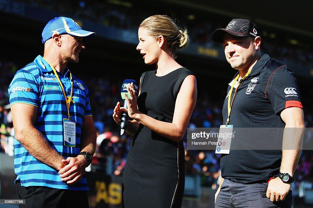 Head coach Brad Arthur of the Parramatta Eels talks with Lara Pitt as head coach Andrew McFadden of the New Zealand Warriors looks on ahead of the 2016 Auckland Nines grand final match between the Parramatta Eels and the New Zealand Warriors at Eden Park on February 7, 2016 in Auckland, New Zealand.