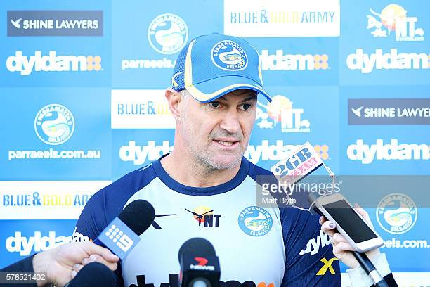 Head coach Brad Arthur talks to the media during a Parramatta Eels NRL media opportunity at the Eels Training Centre on July 16 2016 in Sydney...