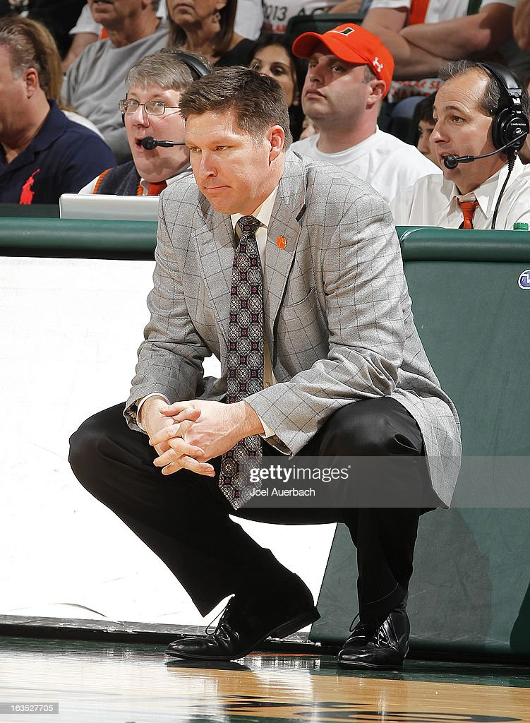 Head coach Brad Brownell of the Clemson Tigers looks on during second half action against the Miami Hurricanes on March 9, 2013 at the BankUnited Center in Coral Gables, Florida. Miami defeated Clemson 62-49.