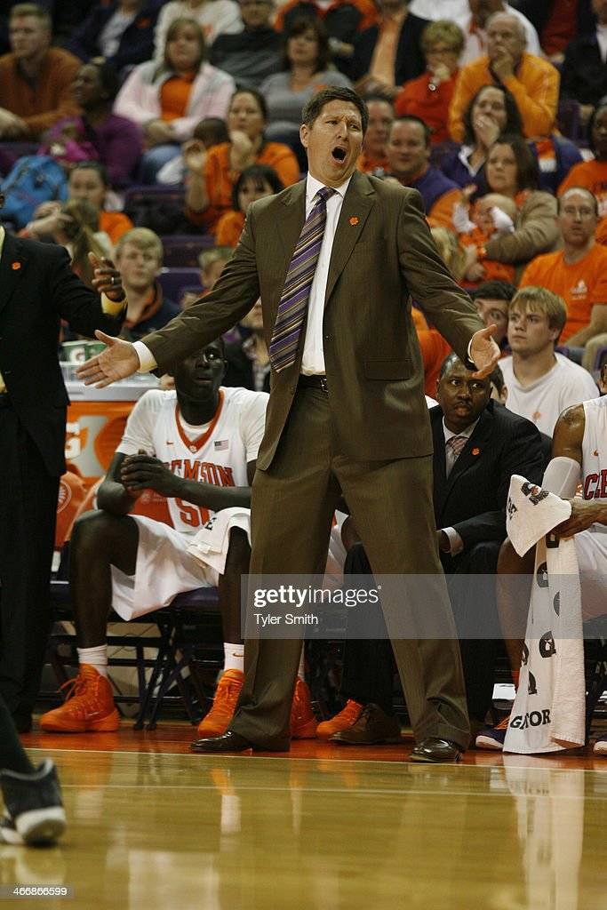 Head Coach <a gi-track='captionPersonalityLinkClicked' href=/galleries/search?phrase=Brad+Brownell&family=editorial&specificpeople=805140 ng-click='$event.stopPropagation()'>Brad Brownell</a> of the Clemson Tigers reacts after a call during the game against the Georgia Tech Yellow Jackets at Littlejohn Coliseum on February 4, 2014 in Clemson, South Carolina.