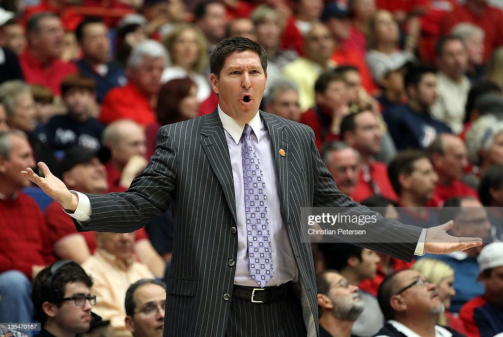 Head coach <a gi-track='captionPersonalityLinkClicked' href=/galleries/search?phrase=Brad+Brownell&family=editorial&specificpeople=805140 ng-click='$event.stopPropagation()'>Brad Brownell</a> of the Clemson Tigers reacts during the college basketball game against the Arizona Wildcats at McKale Center on December 10, 2011 in Tucson, Arizona. The Wildcats defeated the Tigers 63-47.