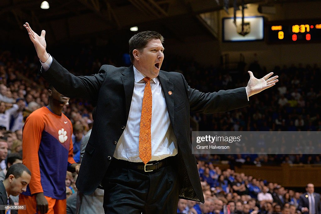 Head coach <a gi-track='captionPersonalityLinkClicked' href=/galleries/search?phrase=Brad+Brownell&family=editorial&specificpeople=805140 ng-click='$event.stopPropagation()'>Brad Brownell</a> of the Clemson Tigers reacts during their game against the Duke Blue Devils at Cameron Indoor Stadium on February 21, 2015 in Durham, North Carolina.