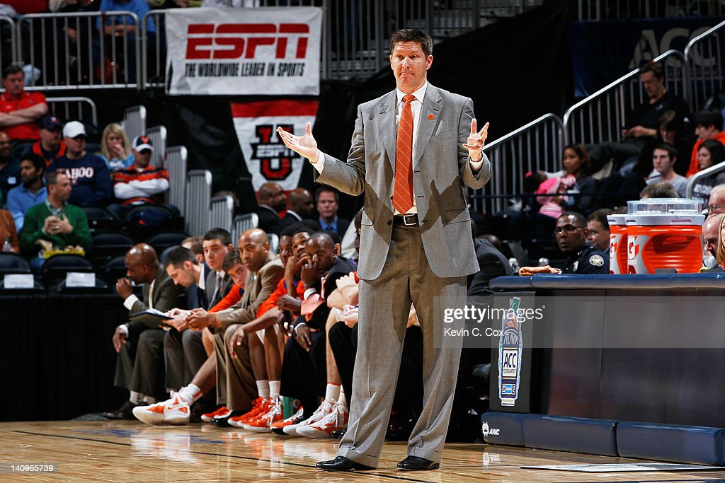 Head coach <a gi-track='captionPersonalityLinkClicked' href=/galleries/search?phrase=Brad+Brownell&family=editorial&specificpeople=805140 ng-click='$event.stopPropagation()'>Brad Brownell</a> of the Clemson Tigers reacts in the second half against the Virginia Tech Hokies during their first round game of 2012 ACC Men's Basketball Conferene Tournament at Philips Arena on March 8, 2012 in Atlanta, Georgia.