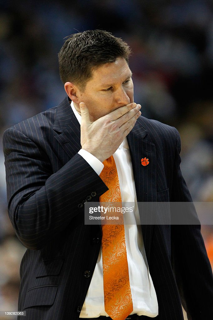 Head coach <a gi-track='captionPersonalityLinkClicked' href=/galleries/search?phrase=Brad+Brownell&family=editorial&specificpeople=805140 ng-click='$event.stopPropagation()'>Brad Brownell</a> of the Clemson Tigers reacts to a call against the North Carolina Tar Heels during their game at Dean Smith Center on February 18, 2012 in Chapel Hill, North Carolina.