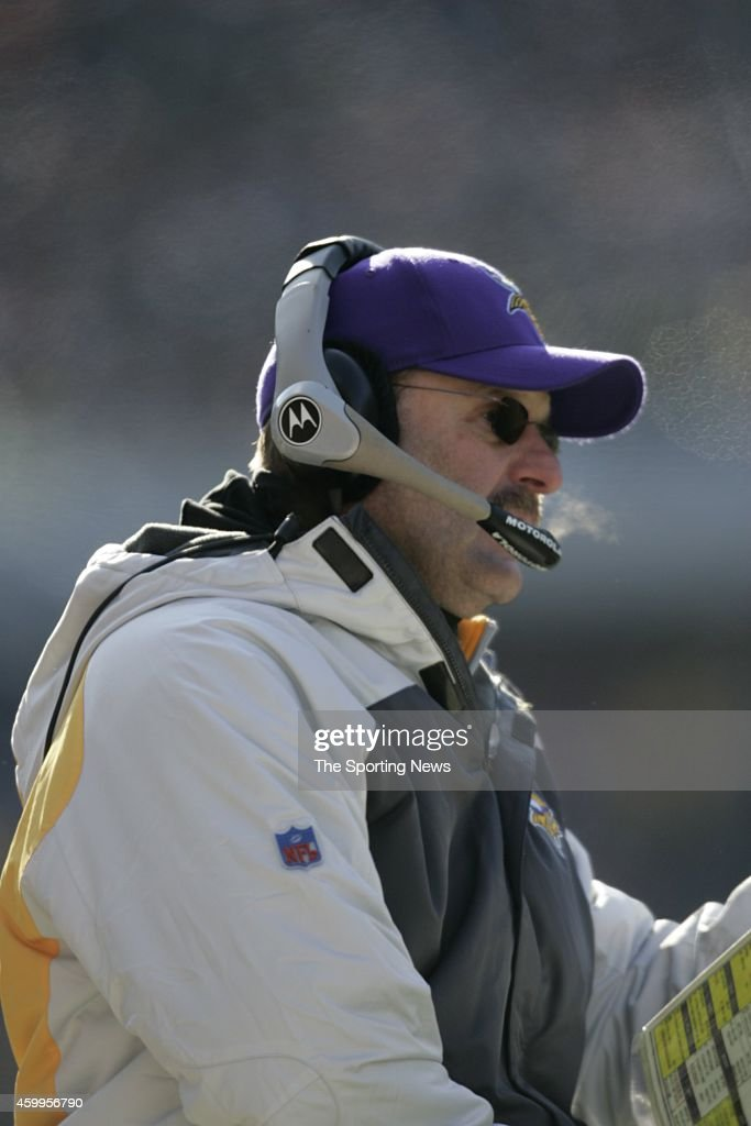 Head Coach Brad Childress of the Minnesota Vikings looks on from the sidelines during a game against the Chicago Bears on December 3, 2006 at Soldier Field in Chicago, Illinois.