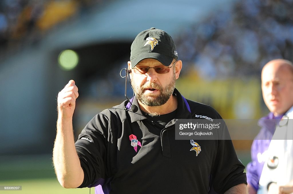 Head coach Brad Childress of the Minnesota Vikings reacts on the sideline during a game against the Pittsburgh Steelers at Heinz Field on October 25, 2009 in Pittsburgh, Pennsylvania. The Steelers defeated the Vikings 27-17.