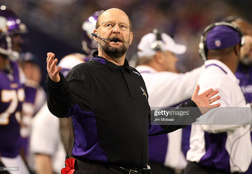 Head coach Brad Childress of the Minnesota Vikings reacts on the sidelines against the Cincinnati Bengals on December 13, 2009 at Hubert H. Humphrey Metrodome in Minneapolis, Minnesota. The Vikings defeated the Bengals 30-10.