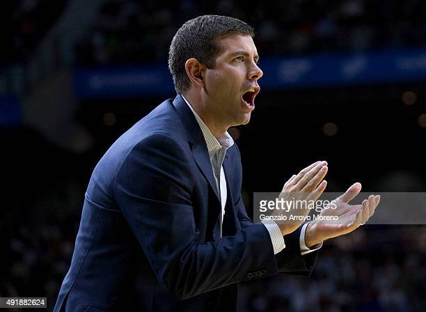 Head coach Brad Stevens of Boston Celtics claps their team during the friendlies of the NBA Global Games 2015 basketball match between Real Madrid...