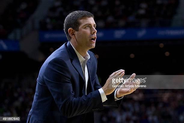 Head coach Brad Stevens of Boston Celtics claps their team during the friendlies of the NBA Global Games 2015 basketball match between Real Madrid...