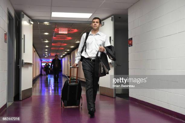 Head Coach Brad Stevens of the Boston Celtics arrives before Game Six of the Eastern Conference Semifinals of the 2017 NBA Playoffs on May 12 2017 at...