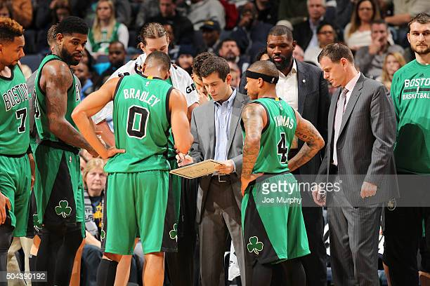 Head coach Brad Stevens of the Boston Celtics draws up a play during the game against the Memphis Grizzlies on January 10 2016 at FedExForum in...