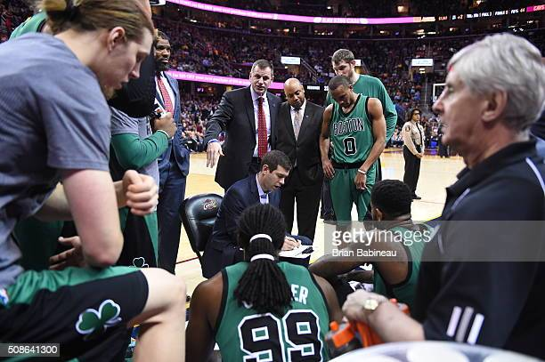 Head coach Brad Stevens of the Boston Celtics during the game against the Cleveland Cavaliers on February 5 2016 at Quicken Loans Arena in Cleveland...