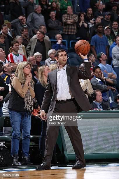 Head Coach Brad Stevens of the Boston Celtics during the game against the Milwaukee Bucks on February 9 2016 at the BMO Harris Bradley Center in...