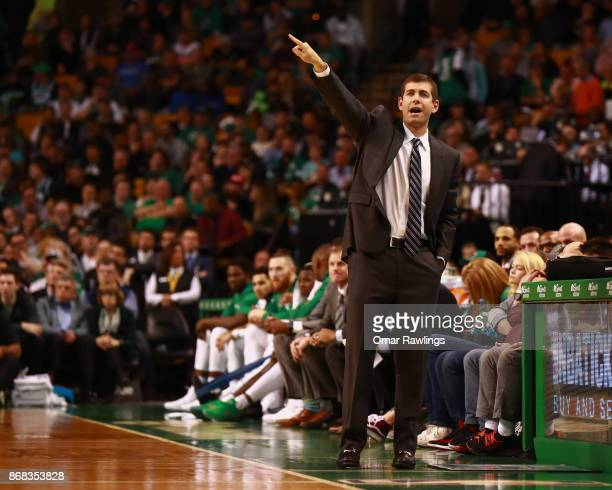 Head coach Brad Stevens of the Boston Celtics gives direction during the game against the San Antonio Spurs at TD Garden on October 30 2017 in Boston...