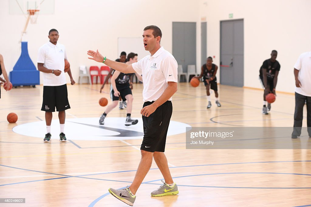 Head Coach <a gi-track='captionPersonalityLinkClicked' href=/galleries/search?phrase=Brad+Stevens&family=editorial&specificpeople=5022542 ng-click='$event.stopPropagation()'>Brad Stevens</a> of the Boston Celtics interacts with the campers during the Basketball Without Boarders program on July 28, 2015 at the American International School of Johannesburg in Johannesburg, South Africa.
