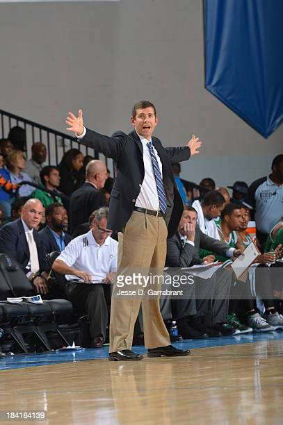 Head Coach Brad Stevens of the Boston Celtics intructs his team during the game against the Philadelphia 76ers at the Bob Carpenter Center on October...