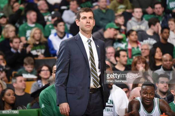 Head coach Brad Stevens of the Boston Celtics is seen during the game against the Chicago Bulls on March 12 2017 at the TD Garden in Boston...