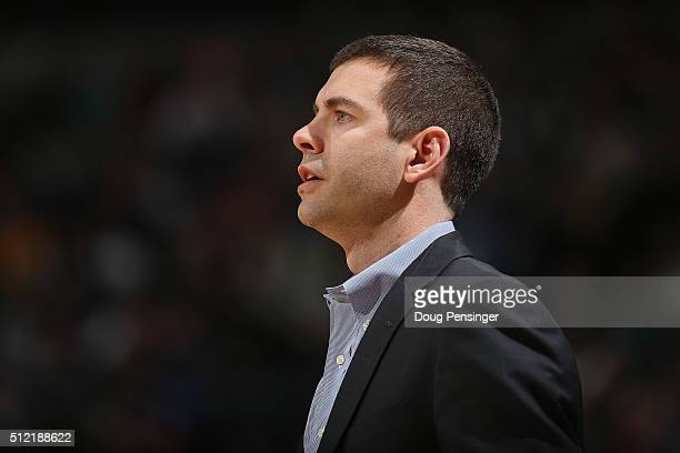 Head coach Brad Stevens of the Boston Celtics leads his team against the Denver Nuggets at Pepsi Center on February 21 2016 in Denver Colorado