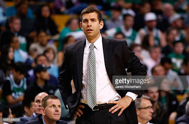 Head coach Brad Stevens of the Boston Celtics looks on against the Washington Wizards during the game at TD Garden on April 16 2014 in Boston...