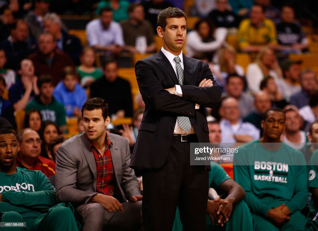 Head coach Brad Stevens of the Boston Celtics looks on against the Washington Wizards in the second half during the game at TD Garden on April 16, 2014 in Boston, Massachusetts.