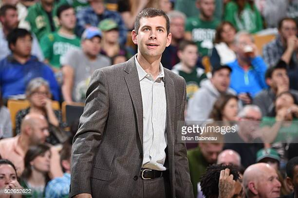 Head Coach Brad Stevens of the Boston Celtics looks on during the game against the New York Knicks on December 27 2015 at the TD Garden in Boston...