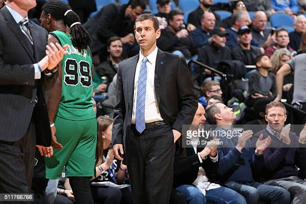 Head Coach Brad Stevens of the Boston Celtics looks on during the game against the Minnesota Timberwolves on February 22 2016 at Target Center in...