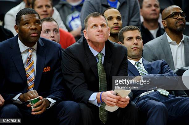 Head coach Brad Stevens of the Boston Celtics looks on during the game against the Minnesota Timberwolves on November 21 2016 at Target Center in...