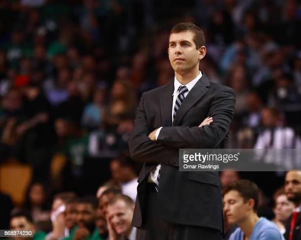 Head Coach Brad Stevens of the Boston Celtics looks on during the game against the San Antonio Spurs at TD Garden on October 30 2017 in Boston...