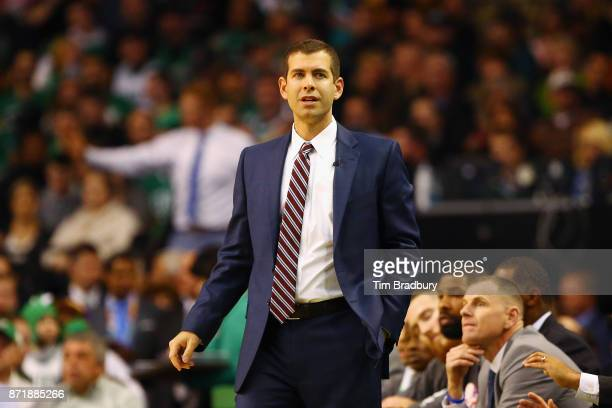 Head coach Brad Stevens of the Boston Celtics reacts during the first quarter against the Los Angeles Lakers at TD Garden on November 8 2017 in...