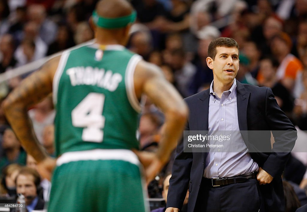 Head coach <a gi-track='captionPersonalityLinkClicked' href=/galleries/search?phrase=Brad+Stevens&family=editorial&specificpeople=5022542 ng-click='$event.stopPropagation()'>Brad Stevens</a> of the Boston Celtics reacts during the NBA game against the Phoenix Suns at US Airways Center on February 23, 2015 in Phoenix, Arizona.