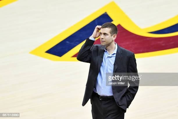 Head coach Brad Stevens of the Boston Celtics reacts in against the Cleveland Cavaliers during Game Four of the 2017 NBA Eastern Conference Finals at...