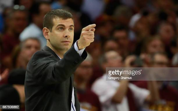 Head coach Brad Stevens of the Boston Celtics reacts in the fourth quarter against the Cleveland Cavaliers during Game Four of the 2017 NBA Eastern...