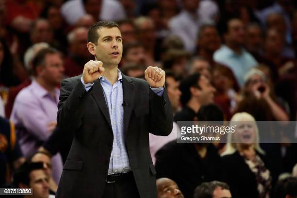 Head coach Brad Stevens of the Boston Celtics reacts in the second half against the Cleveland Cavaliers during Game Four of the 2017 NBA Eastern...