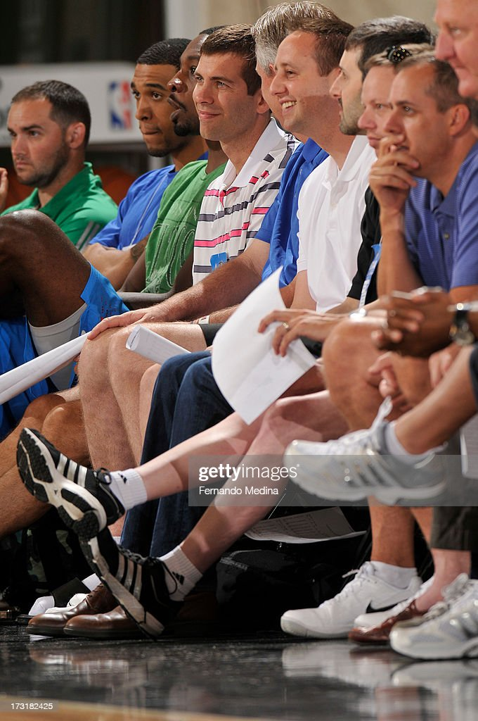 Head Coach Brad Stevens of the Boston Celtics takes in the game against the Indiana Pacers during the 2013 Southwest Airlines Orlando Pro Summer League on July 9, 2013 at Amway Center in Orlando, Florida.