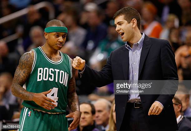 Head coach Brad Stevens of the Boston Celtics talks with Isaiah Thomas during the second half of the NBA game against the Phoenix Suns at US Airways...