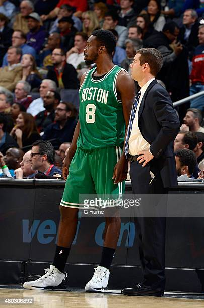 Head coach Brad Stevens of the Boston Celtics talks with Jeff Green during the game against the Washington Wizards at the Verizon Center on December...