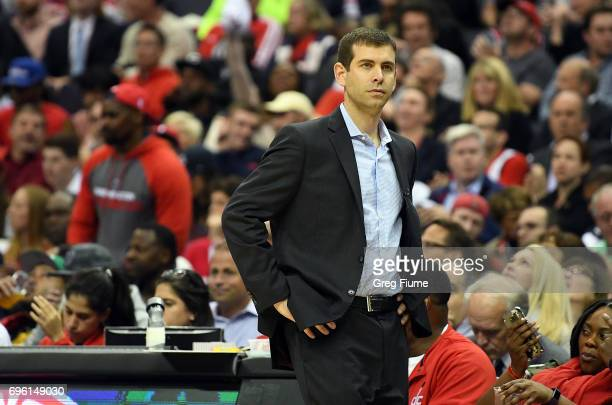 Head coach Brad Stevens of the Boston Celtics watches the game against the Washington Wizards in Game Three of the Eastern Conference Semifinals at...