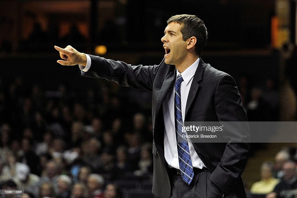 Head coach Brad Stevens of the Butler Bulldogs coaches his team against the Vanderbilt Commodores at Memorial Gym on December 29, 2012 in Nashville, Tennessee.
