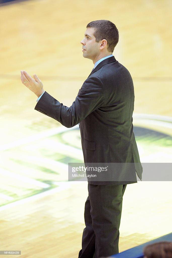Head coach Brad Stevens of the Butler Bulldogs looks on during a college basketball game against the George Washington Colonials at the Smith Center on February 9, 2013 in Washington, DC. The Bulldogs won 59-56.