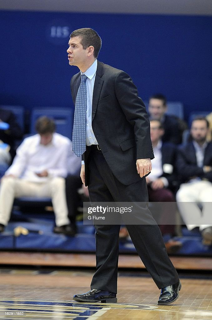Head coach Brad Stevens of the Butler Bulldogs reacts to a call during the game against the George Washington Colonials on February 9, 2013 at the Smith Center in Washington, D.C.