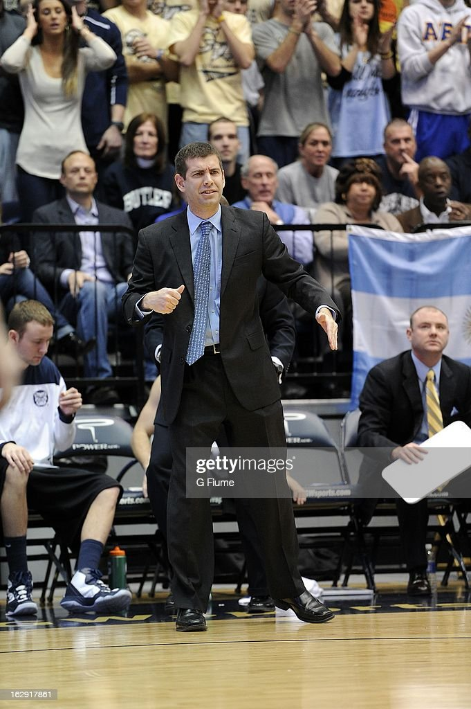 Head coach <a gi-track='captionPersonalityLinkClicked' href=/galleries/search?phrase=Brad+Stevens&family=editorial&specificpeople=5022542 ng-click='$event.stopPropagation()'>Brad Stevens</a> of the Butler Bulldogs watches the game against the George Washington Colonials on February 9, 2013 at the Smith Center in Washington, D.C.