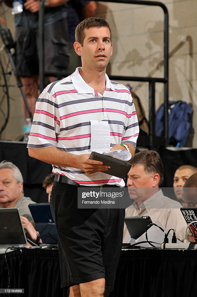 Head Coach Brad Stevens takes in the game of the Detroit Pistons against the Oklahoma City Thunder during the 2013 Southwest Airlines Orlando Pro Summer League on July 9, 2013 at Amway Center in Orlando, Florida.