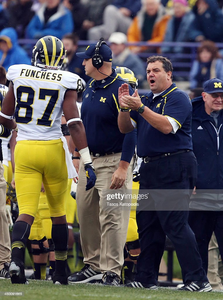 Head Coach <a gi-track='captionPersonalityLinkClicked' href=/galleries/search?phrase=Brady+Hoke&family=editorial&specificpeople=3821056 ng-click='$event.stopPropagation()'>Brady Hoke</a> of the Michigan Wolverines reacts during play against the Northwestern Wildcats at Ryan Field on November 16, 2013 in Evanston, Illinois.