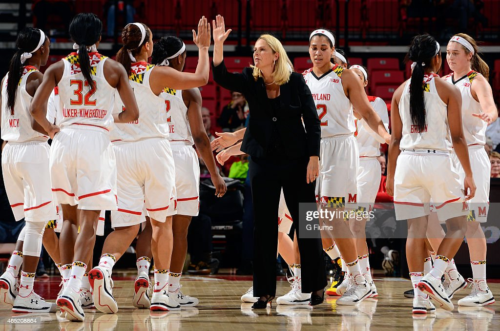 Head coach <a gi-track='captionPersonalityLinkClicked' href=/galleries/search?phrase=Brenda+Frese&family=editorial&specificpeople=700545 ng-click='$event.stopPropagation()'>Brenda Frese</a> of the Maryland Terrapins celebrates with her team during the game against the Indiana Hoosiers at the Xfinity Center on February 26, 2015 in College Park, Maryland.
